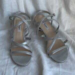 90s style Nina strappy silver sandals low heel